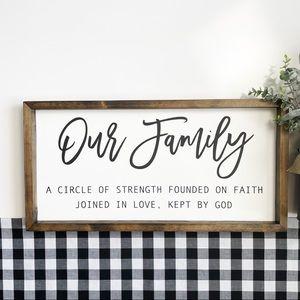 Our Family | Farmhouse Framed Wood Sign